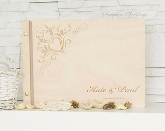Wooden Wedding Guest Book Floral Design Custom Personalized Memory Book