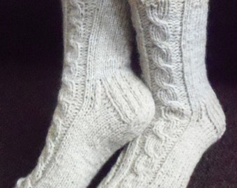 Cream-beige hand knit socks,sheep,mohair wool,thick,cable design bed socks,slippers,UK 4-12,US 5-13,EU 35-47