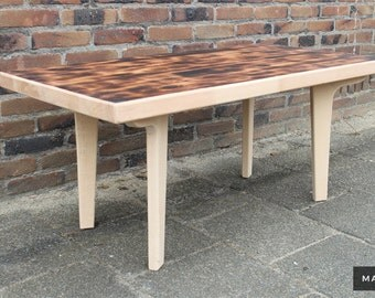New Retro Design Mid Century Modern Coffee Table Solid Beech Burnt Top