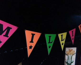 Personalised Neon/Florescent Paper Bunting for Any Occasion/Celebration/Home Decor/Name Gift