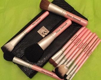 PERSONALIZED Makeup Brushes - Perfectly Pink Snake Skin Brush Set