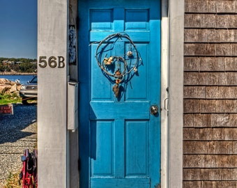 Blue Door by the Sea, Cape Anne, Massachusetts - Photographic Print on Glossy Paper or Vibrant Metal - Contemporary Fine Art Photography