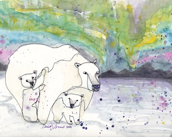PRINTS Polar Bear Mommy with Cubs