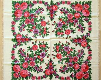 Vintage Woolen Shawl Woolen Scarf with floral pattern #101