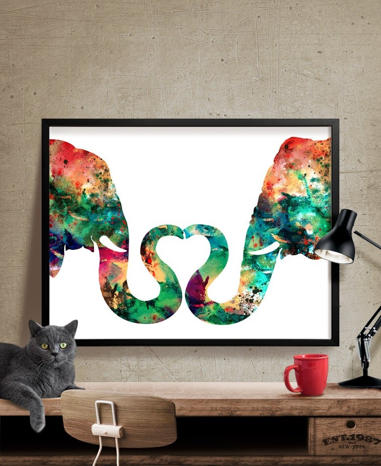 Abstract Painting Elephant Love Watercolor Print Abstract - photo#26