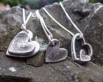 Fingerprint Necklace, silver double hearts fingerprint jewellery