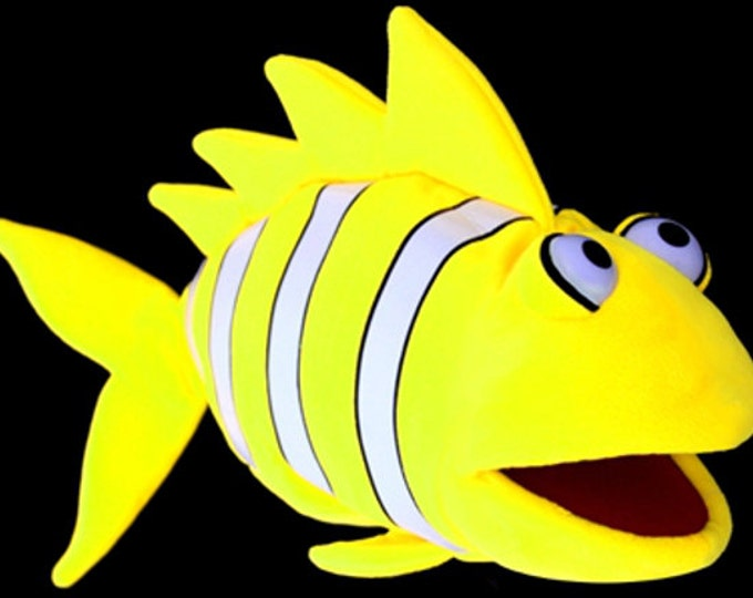 Black Light Clown Fish Puppet. Large Neon Yellow Puppet for Professional Puppetry Use. Use in Blacklight Puppet Shows or Daylight.