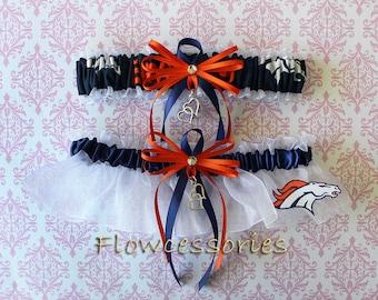 DENVER BRONCOS handmade hearts bridal garters - keepsake garter set