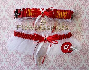 KANSAS CITY CHIEFS handmade hearts bridal garters - keepsake garter set
