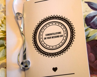 Wedding Congratulations Card. Personalised. Sealed With A Loving Kiss Theme. Available A5 and A6