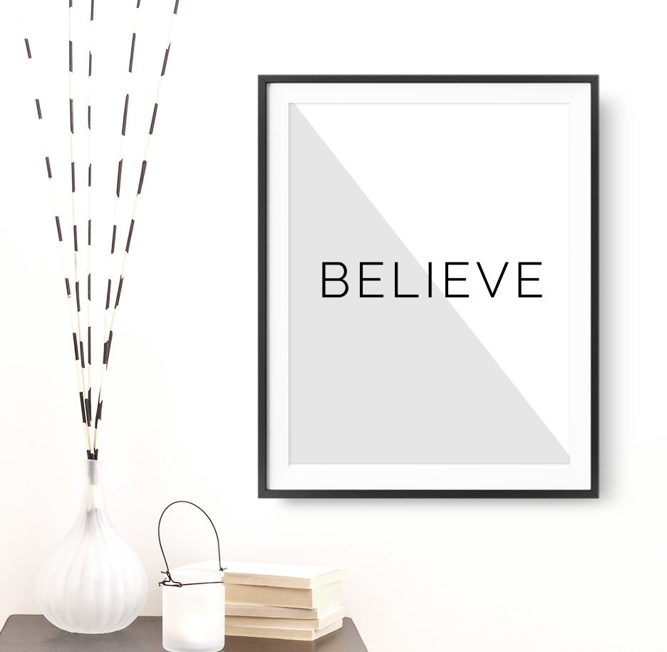 wall decor home decor believe printable poster
