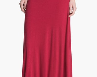 Ruched Long Jersey Maxi Skirt