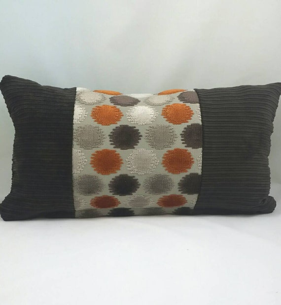 Mid Century Modern Lumbar Cushion Cover. Chocolate Brown and