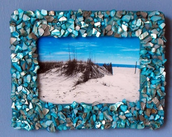 Beach Picture - Shell Picture Frame - Beach Decor (BC-28)