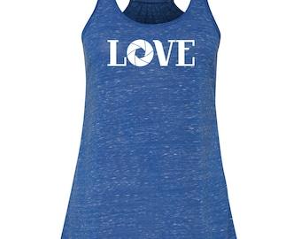 LOVE photography tank top, photographer shirt, photographer gift, camera shutter tank