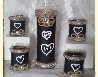 Rustic wedding chalkboard/hemp/bling centerpiece for rustic wedding decorations