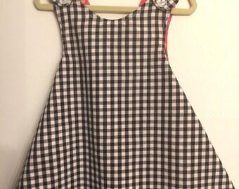 PICNIC #2 dress- Retro REVERSIBLE toddler pinafore- 12-24 months