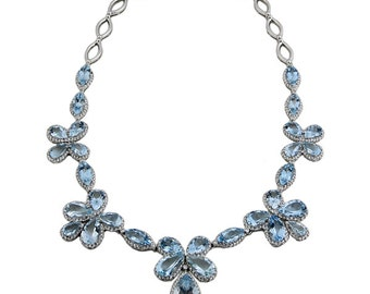 18K White Gold Diamond And Aquamarine Necklace