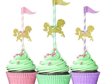Carousel cake topper, cupcake topper, birthday decorations, Merry go around, carnival cupcake topper