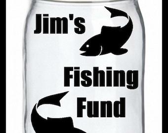 Fishing Fund Jar, Savings Jar, Coin Jar, Money Bank, Savings Bank, Custom Jar, Personalized Bank