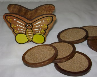 Wood butterfly coaster holder and 6 coasters vintage 1960's