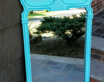 Large Wall Mirror Painted Turquoise/ Teal