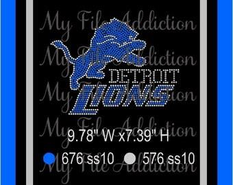 Instant Download Rhinestone SVG EPS Design File Detroit Lions Football