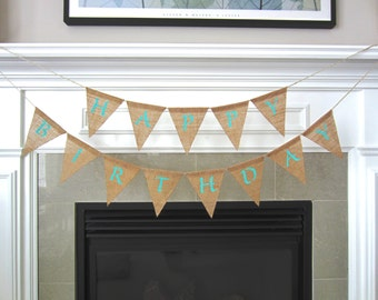 Happy Birthday burlap banner - birthday pennant - burlap pennant - birthday bunting