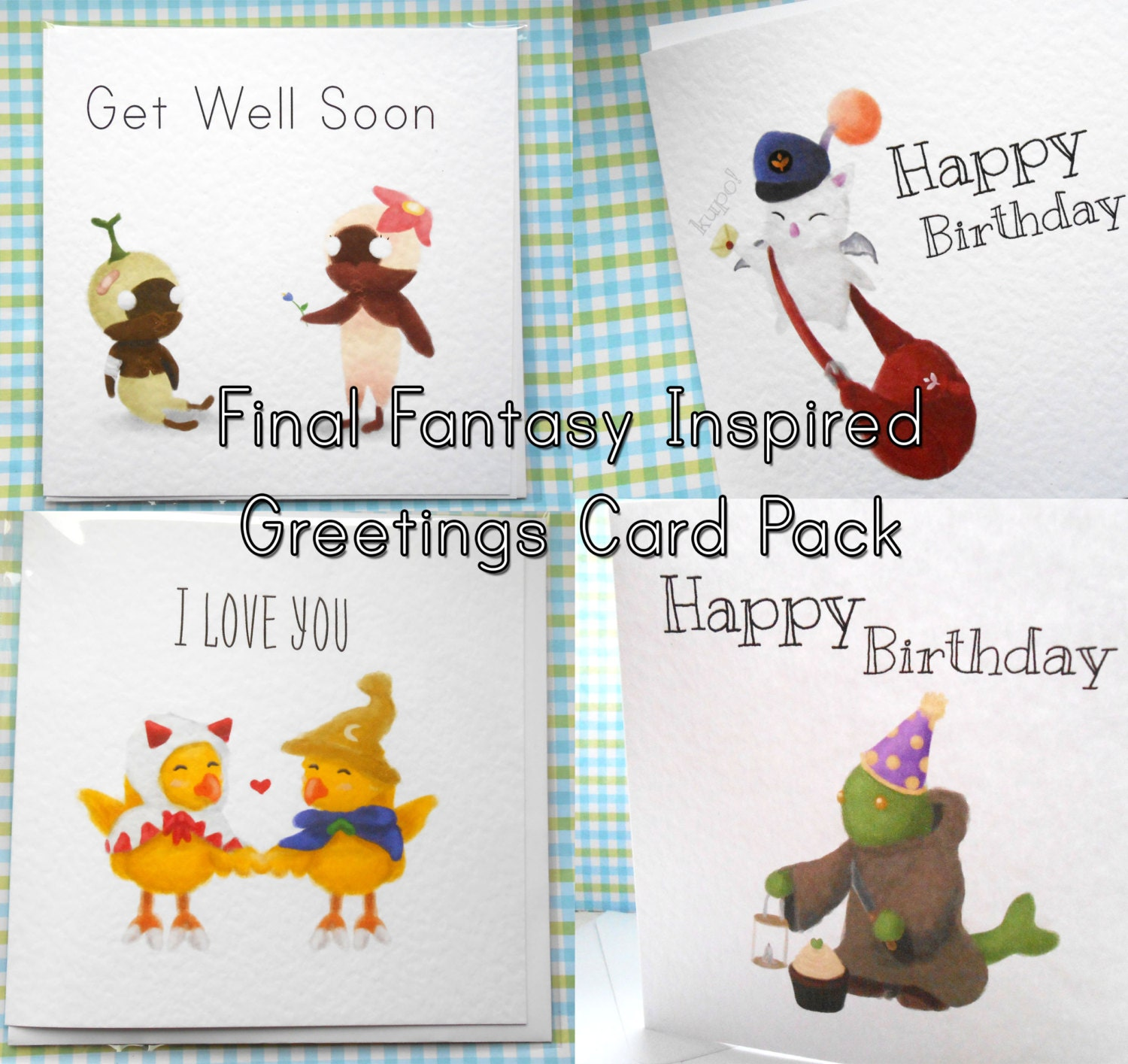 Delivery Moogle Birthday Card Final Fantasy Themed: Final Fantasy Inspired Greetings Card Pack By Squishyscribbles