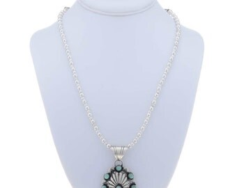 Silver Concho and Turquoise Pendant Necklace, Santa Fe Style and Navajo-Made