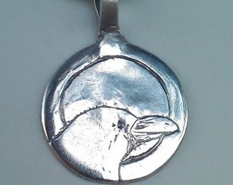 Handmade pure silver raven with moon pendant