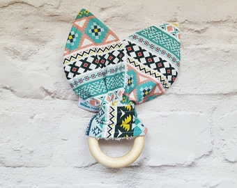 Natural Wood Teething Ring - Bunny Ears Teether - Aztec - Teal, Yellow, Pink - Baby Girl