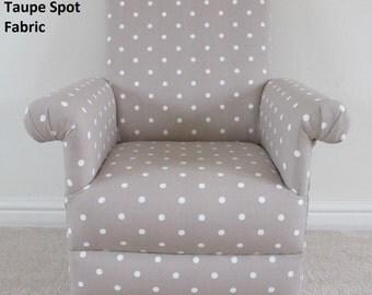 Clarke & Clarke Dotty Spot Taupe Fabric Child's Chair Beige Polka Dot Spotty Nursery Bedroom Bespoke