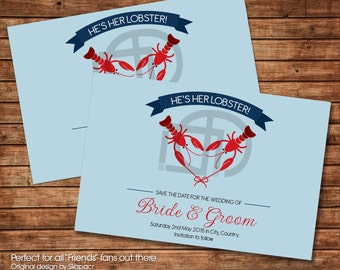 Save the date - He's her Lobster - Printable Wedding card