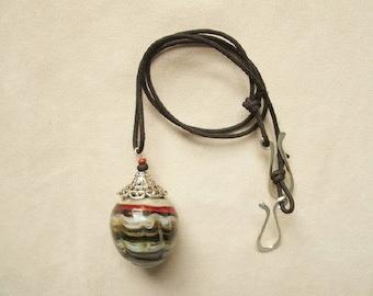 glass egg pendant, necklace, colorful, earth tone colors, solid glass,designer, unique