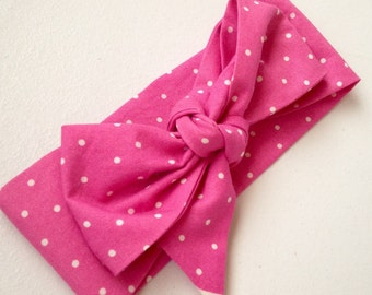 The Hot Pink Dotty Head Wrap