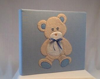12x12 Postbound Fabric Scrapbook Photo Album Memory Book Baby Boy Shower Light Blue Gingham Teddy Bear Applique AO91 Album Outfitters