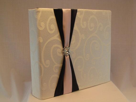 12x12 Postbound Fabric Scrapbook Photo Album Memory Book Handmade Wedding Guest Book Bride Groom Bridal Shower White AO88 Album Outfitters