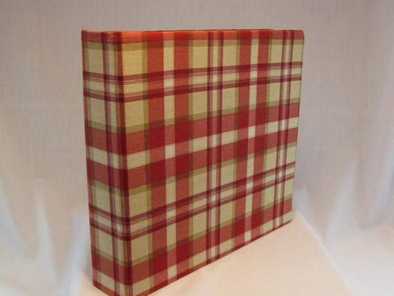 12x12 Postbound Fabric Scrapbook Photo Album Memory Book Handmade Barn Red Tan Gold Plaid Tartan Checkered  AO35 Album Outfitters