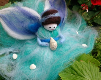 Wool Felt Fairy .  Ocean Dream.  Sea Fairy.