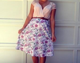 Vintage Floral Midi Length Skirt Small White