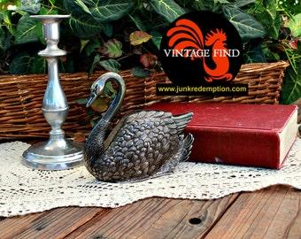 Vintage Silver Plated Swan Letter or Napkin Holder