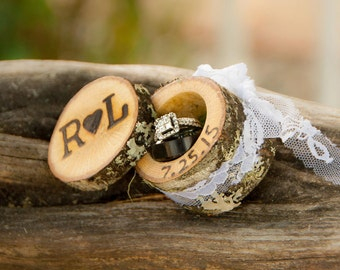 mini log ring boxes wedding ring box wood ring box proposal ring box engagement ring box - Western Style Wedding Rings
