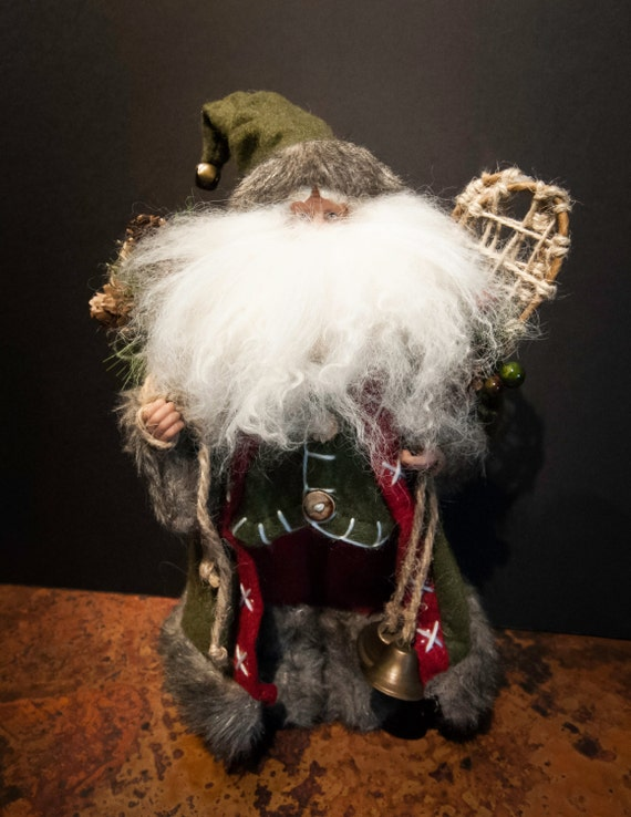 Handmade Vintage Santa with Toy Sack and Snow Shoes