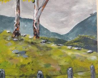 Landscape original acrylic painting, 16x16 canvas, by Bradley Pearson