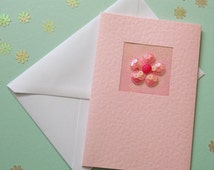 Get Well Soon Card, girlfriend, for her, wife, mum, friend, daughter, light pink sequin flower, pretty in pink, modern, recycled envelope