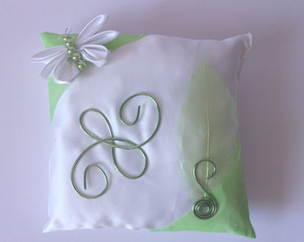 Wedding ring cushion with white and green butterflies