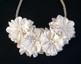 Bride Necklace, Statement Necklace,Fabric Flower Necklace, Wedding Necklace, Floral Necklace, Gif for Her, Textile Jewelry, Christmas gift