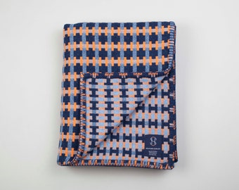 Geometric Woven Lambswool Blanket - Puzzle design in Orange, Pale Blue & Navy (Harbour)