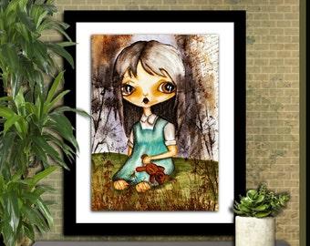 Big eye art digital download instant download art print printable art big eyed girl Gothic art